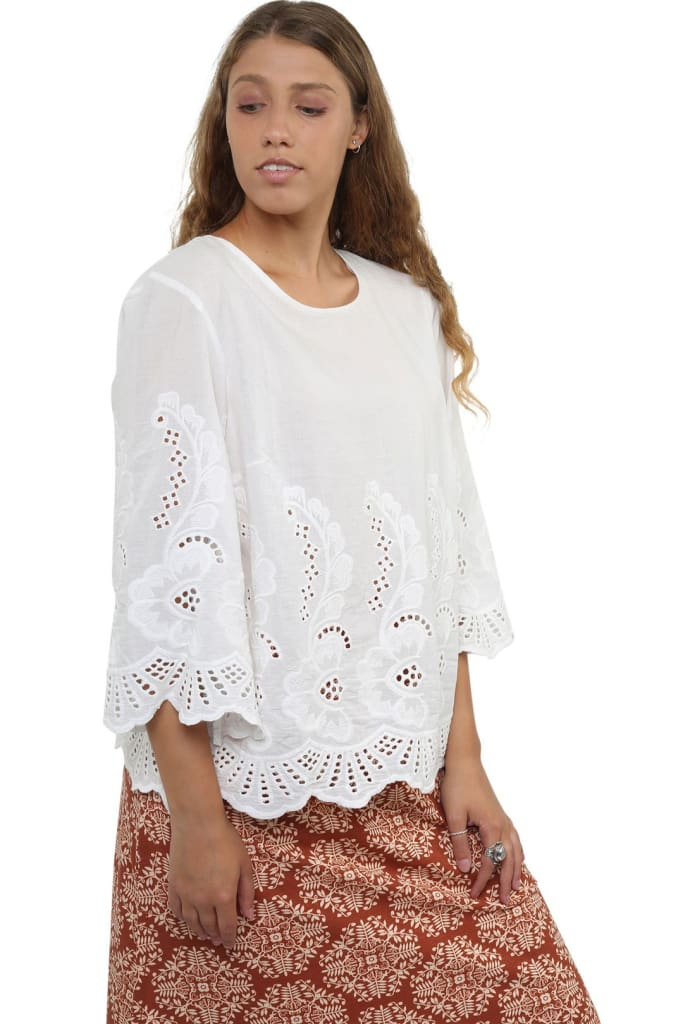 White Anglaise Broderie Top