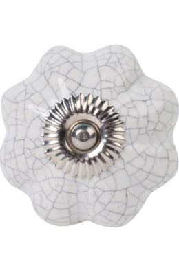White Crackle Ceramic Knob