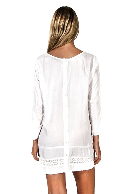 White Panel Embroidery Top
