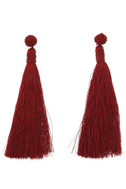 Wine Red Tassel Earrings