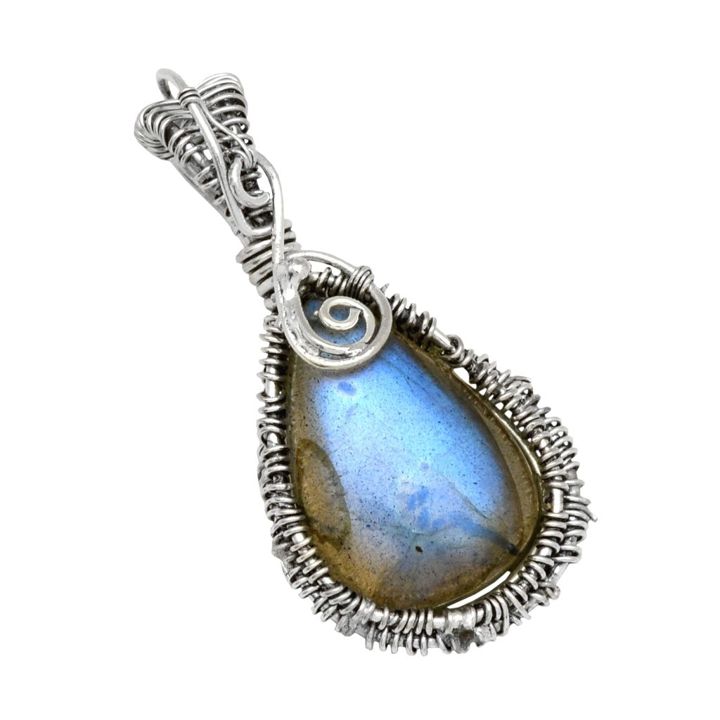 flash img necklace stone on products inches pendant natural silver sterling labradorite chain blue
