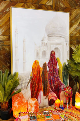 Women at Taj Mahal Oil Painting Framed Canvas