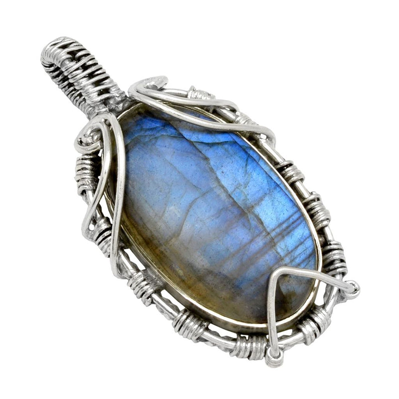 Wrapped Labradorite Oval Pendant