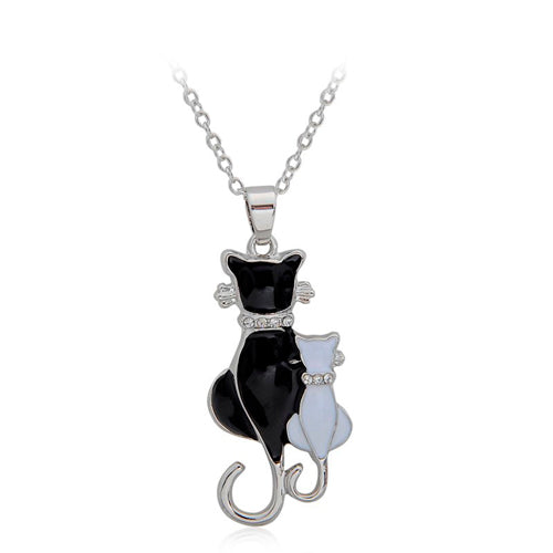 Black & Crystal Cat Necklace