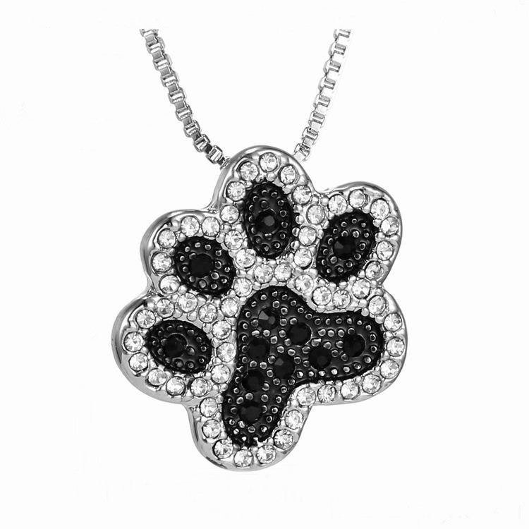 Crystal and Black Paw Print Necklace