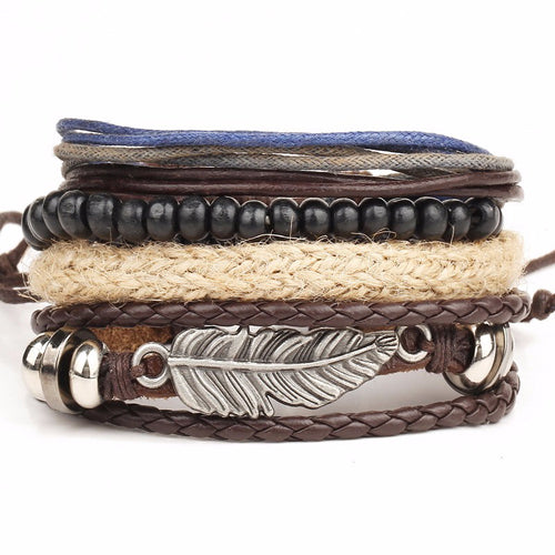 Leather Stacked Variety Bracelet