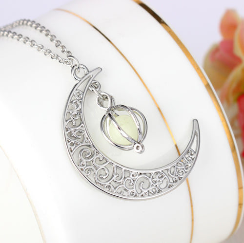 Luminous Moon Charm Necklace