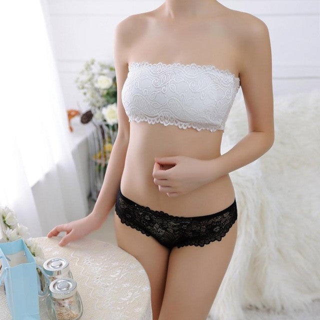 55ebc3132 2017 One-Piece Lace tube top Intimates Sexy Womens Padded Bra Crop Tops  Bustier Seamless