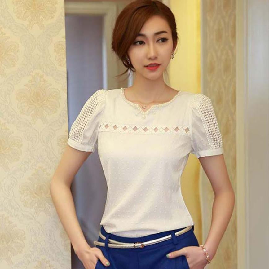 272e4639a06 1PC Lady Women Blouse Lace Short Sleeve Shirt V Neck Doll Chiffon Blouse Ladies  Elegant Tops