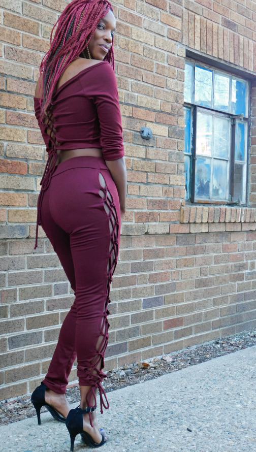 Burgundy Laced Up Pants
