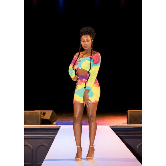 Rainbow Tie Dye Barely Open Ribbed Dress