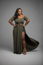 Split Army Maxi Dress