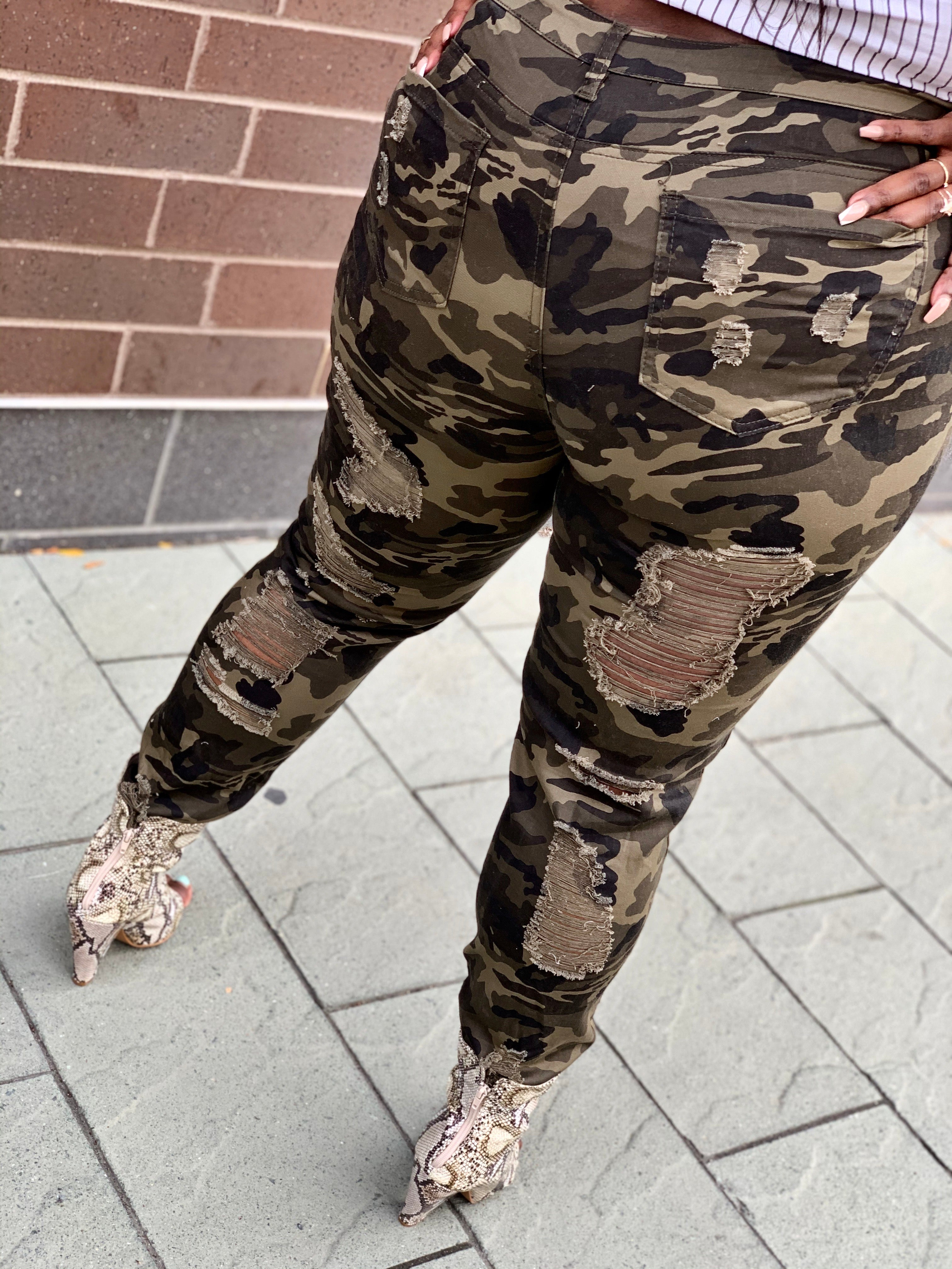 Destroyed Army Fatigue Pants