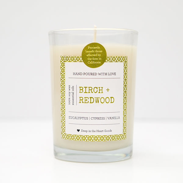 Soy Wax Candle, Candle, Soy, organic, essential oils, bath, body, texas, birch, redwood, Eucalyptus, Cypress, Vanilla, Disaster Relief, California, Wildfires, mudslides