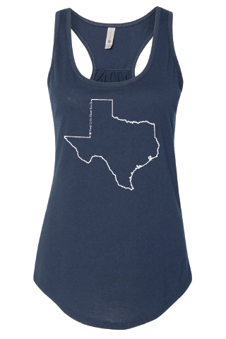 Texas Outline Gathered Tank (Women's) - Choose your disaster relief