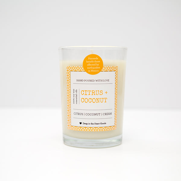 Soy Wax Candle, Candle, Soy, organic, essential oils, bath, body, citrus, coconut, cream, Disaster Relief, mexico, earthquake, 9 oz, fundraiser, donate