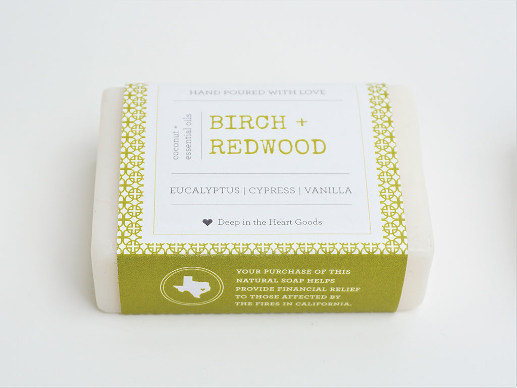 Coconut Oil soap hand made with essential oils providing disaster relief to those affected by the California Wildfires