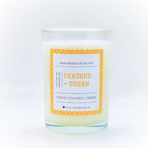 9 OZ. PEACHES + CREAM SOY WAX CANDLE
