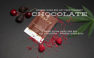Free Gourmet CBD chocolate on orders over $50. Earn extra chocolate per $50 spent. Plus free shipping.