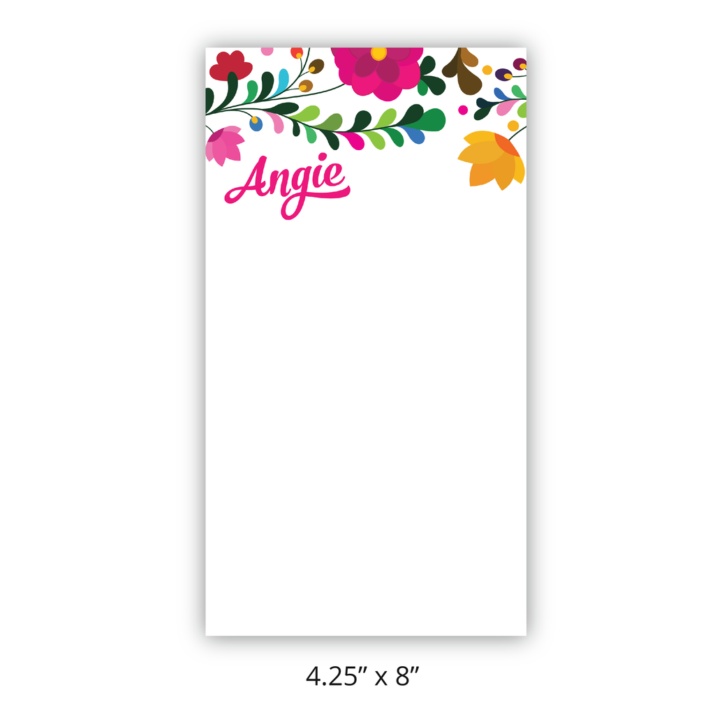 "Personalized ""Fiesta Flowers"" Chunky Notepad"