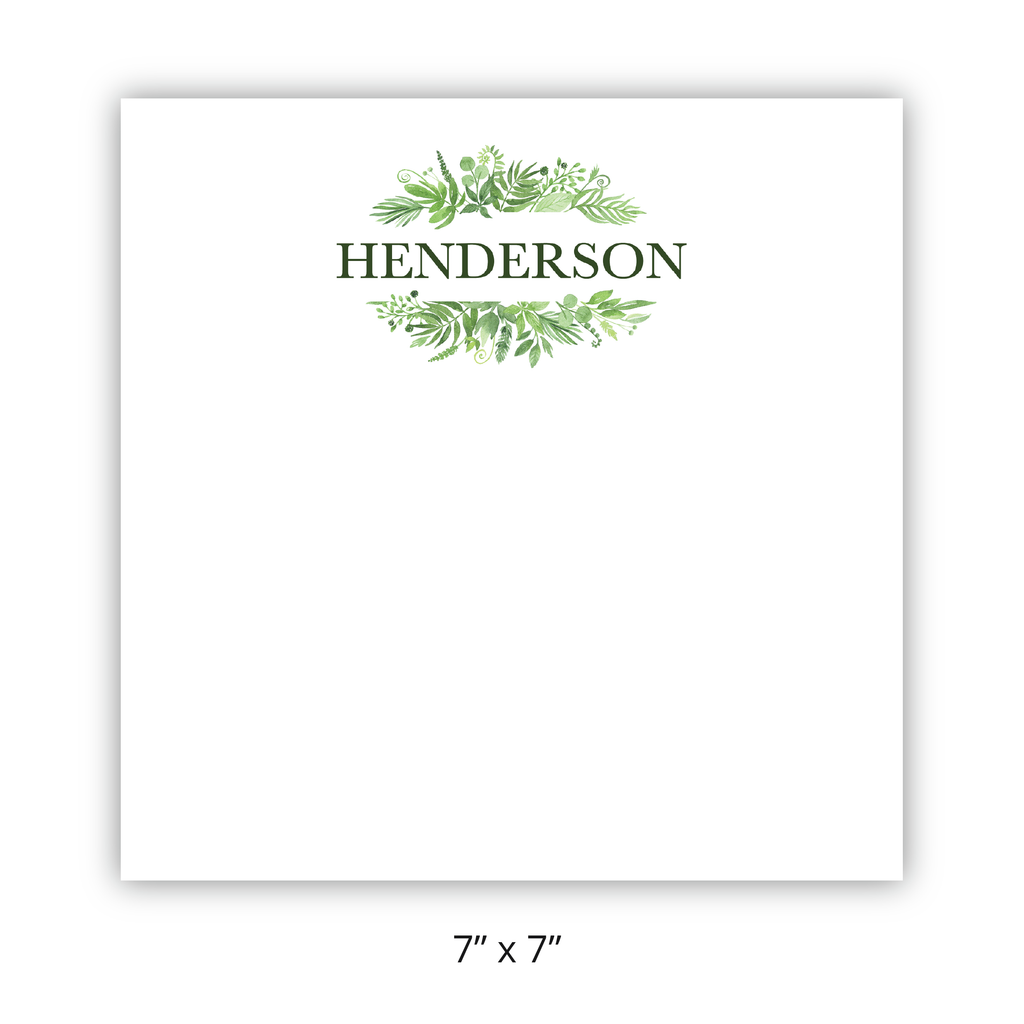 "Personalized Botanical ""Henderson"" Chunky Pad"