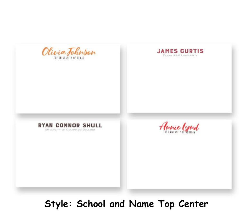 Personalized 4x6 Collegiate Notecards