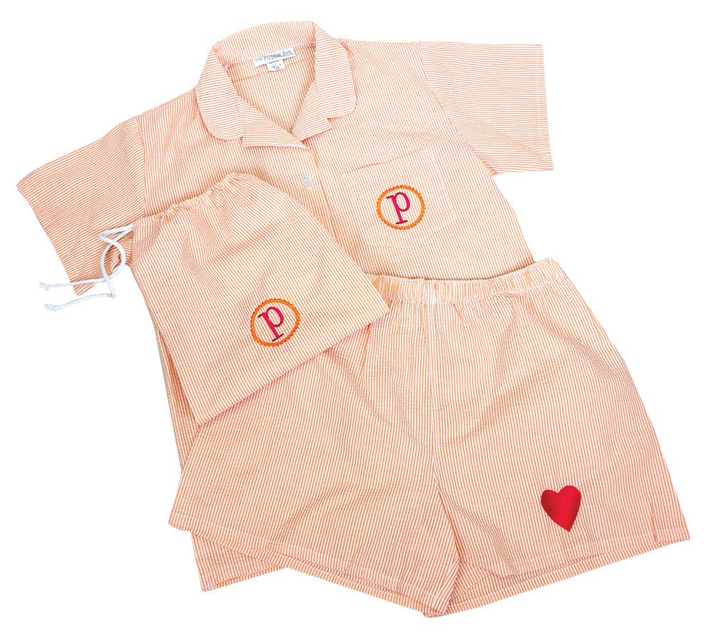 Seersucker PJ Set - Embroidered Initial
