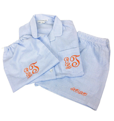 Seersucker PJ Set - Script Monogram