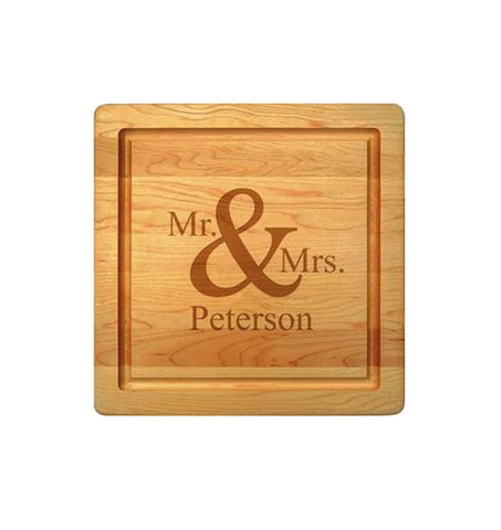 """Mr. and Mrs."" Cutting Board - 12"" Square"