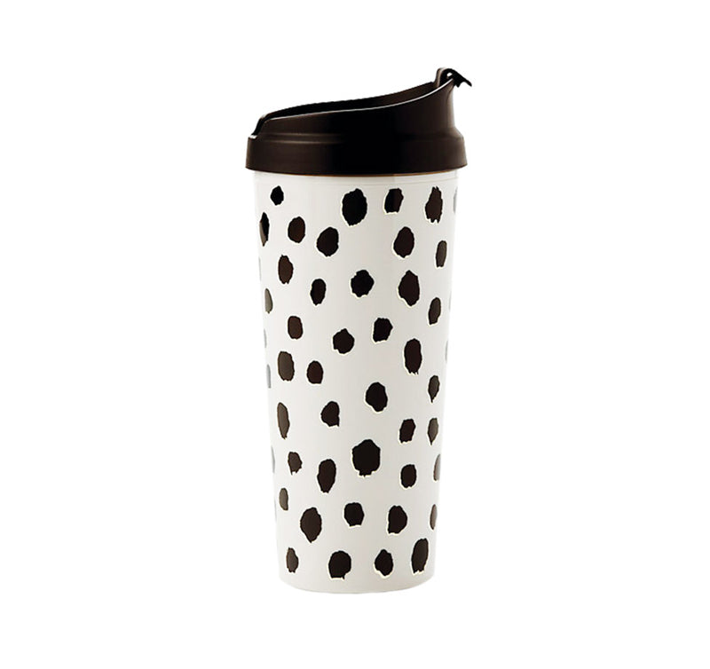 Thermal Mug - White with Black Dots