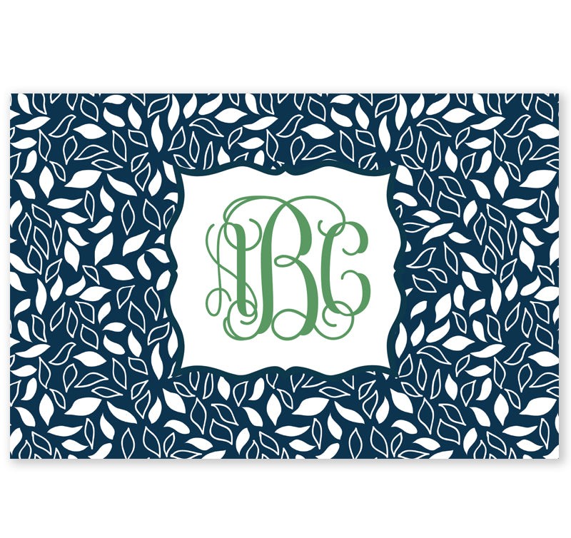 Personalized Note Cards - Set of 10 - Navy Leaves