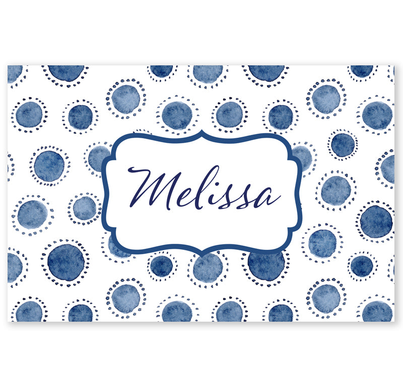 Personalized Note Cards - Set of 10 - Indigo Dots
