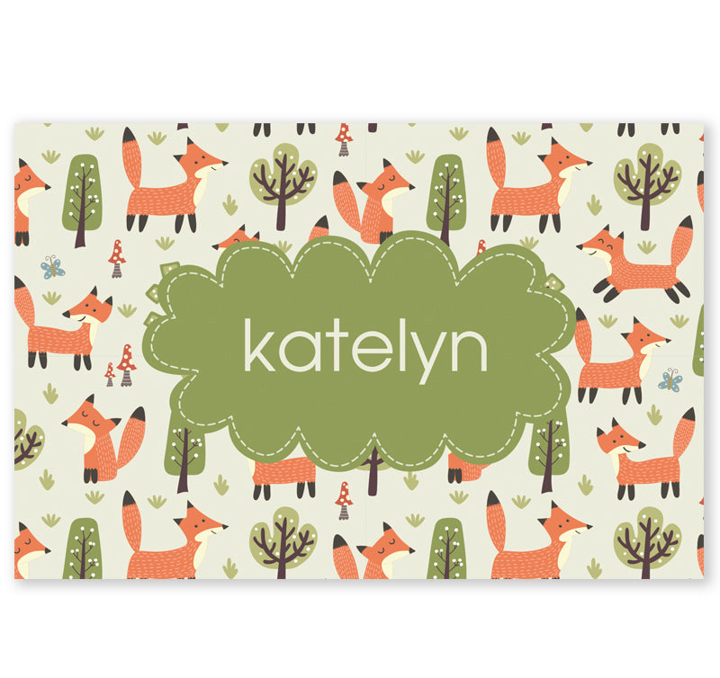 Personalized Kids Note Cards - Set of 10 - Foxy Forest