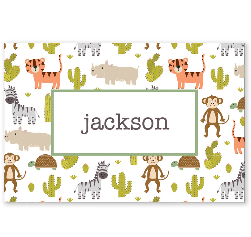 Personalized Kids Note Cards - Set of 10 - Safari