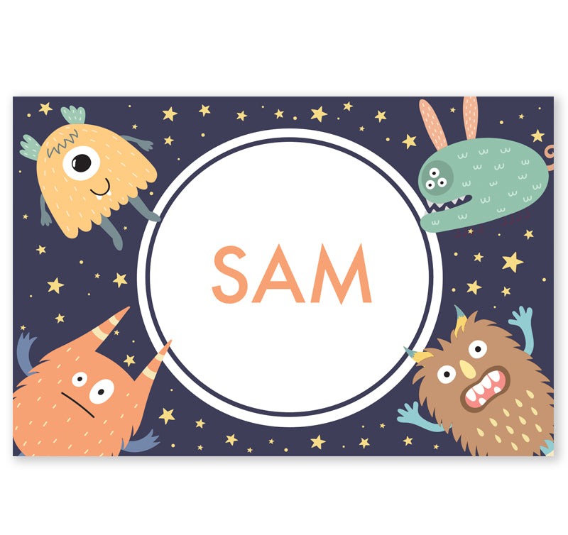 Personalized Kids Note Cards - Set of 10 - Monsters