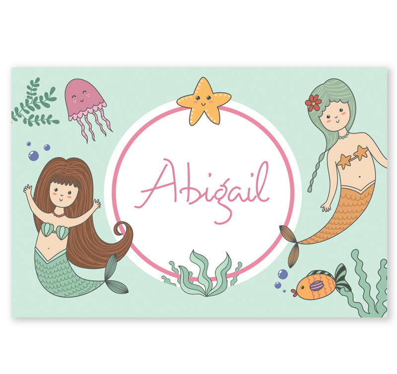 Personalized Kids Note Cards - Set of 10 - Mermaid