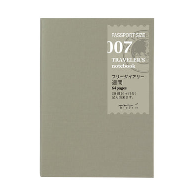 Traveler's Notebook Passport Size 007 Free diary weekly - Mimoto Japanese Homewares & Design