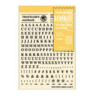 Traveler's Notebook Accessories 009 Instant Alphabet - Mimoto Japanese Homewares & Design