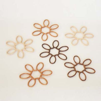 Handcrafted Flower Design Wooden Coasters - Mimoto Japanese Homewares & Design