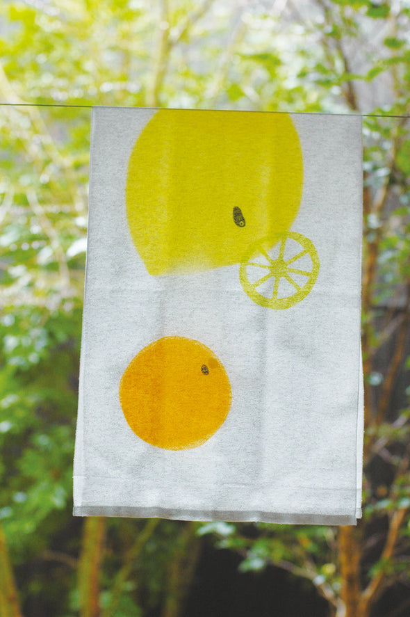 Tenugui Gauze Towel - lemons and oranges