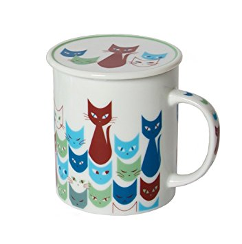 Miya Mask Blue Cat Mug with Lid - Mimoto Japanese Homewares & Design