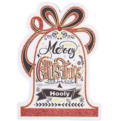 Brush Lettering  Calligraphy Style Christmas Die Cut Card
