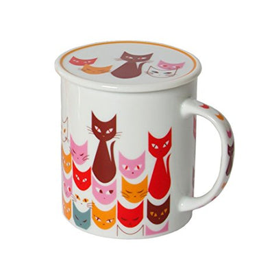 Miya Mask Red Cat Mug with Lid - Mimoto Japanese Homewares & Design