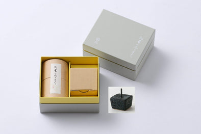 Rice Wax Candle Gift Set with a black candle stand - Mimoto Japanese Homewares & Design