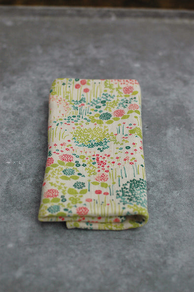 Hand towel double gauze graphic flowers by Rieko Oka