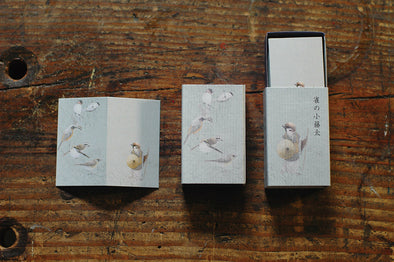 Bird Folding Mini Cards in a decorated matchbox Kotota Sparrow tale