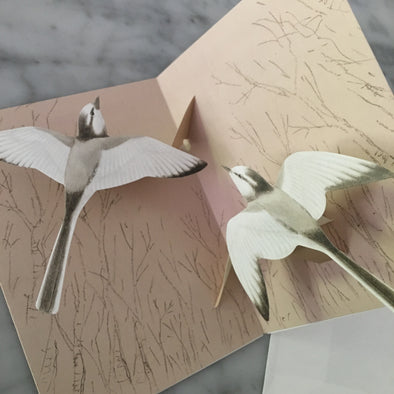 Pop-up Bird Card (White Wagtail) - Mimoto Japanese Homewares & Design