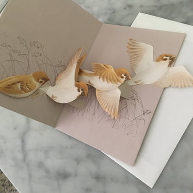 Pop-up Bird Card (Tree Sparrow) - Mimoto Japanese Homewares & Design