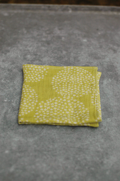 Handkerchief double gauze with yellow hydrangeas by Rieko Oka