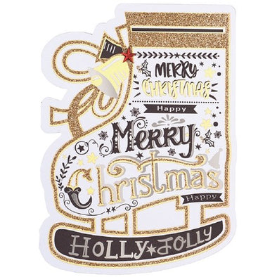 Brush Lettering Calligraphy Style Skate Christmas Die-Cut Card